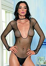 Sexy Netz Catsuit schwarz mit großen Maschen