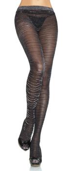 Edle schwarze Lurex Strumpfhose im Zebra Design