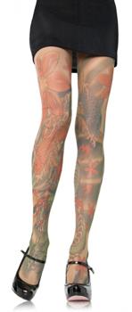 Elegante bunte Tattoo Strumpfhose mit edlen großen Motiven bedruckt