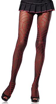 Schwarze Spinnennetz Strumpfhose mit großen roten Spinnennetzen