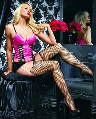 Edles Fuchsia-farbenes (Pink) Push Up Bustier mit Korsettschnürung
